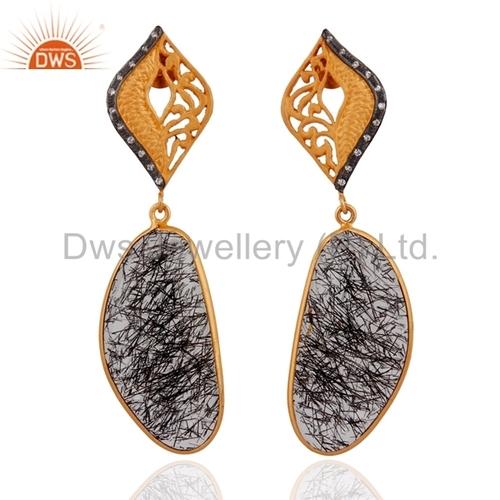 Black Tourmalinated Quartz 925 Silver 24k Gold Vermeil Earrings