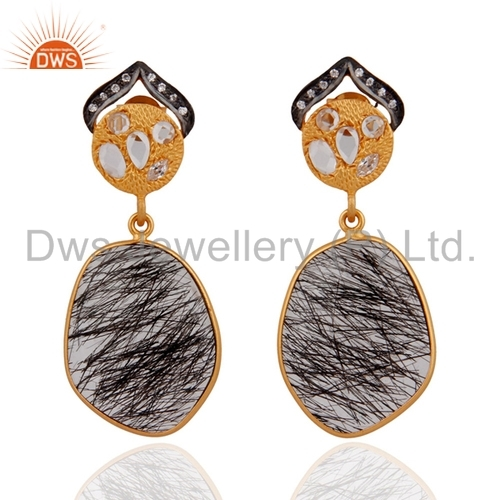 Sterling Silver Gold Plated Tourmalinated Quartz Earrings