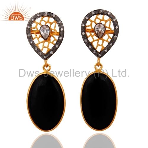 Sterling SIlver Gold Vermeil Black Onyx Earring