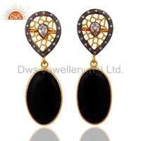 Sterling SIlver Gold Vermeil Black Onyx Earring