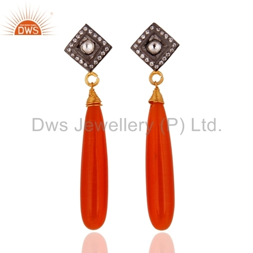 Peach Moonstone CZ Gold-plated Sterling Silver Earrings