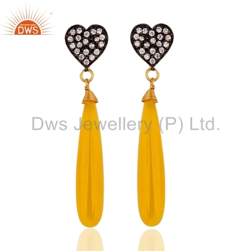 Yellow Moonstone & CZ Gold Plated 925 Silver Earrings