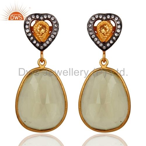 18k Gold Plated Sterling Silver Citrine Lemon Topaz Earrings