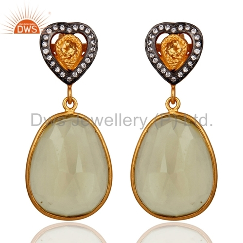 18k Gold Plated Sterling Silver Citrine Lemon Topaz Earrings