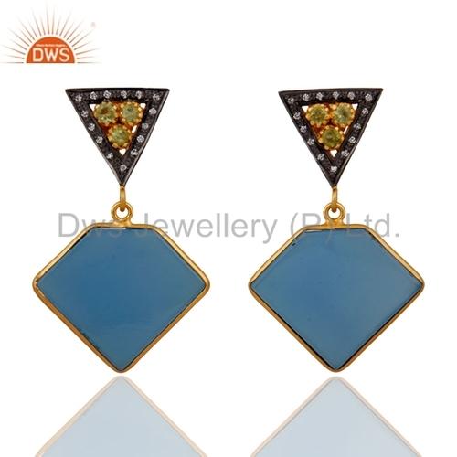 Peridot Sterling Silver Blue Chalcedony 18k Gold Vermeil Earrings