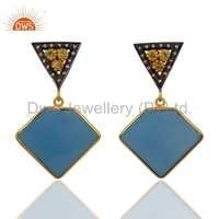 Peridot Sterling Silver Blue Chalcedony 18k Gold Vermeil Earrings