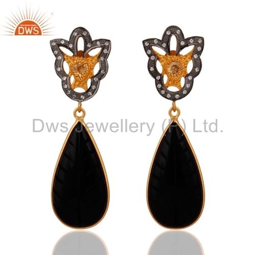 Black Onyx Gemstone Citrine Sterling SIlver Earrings