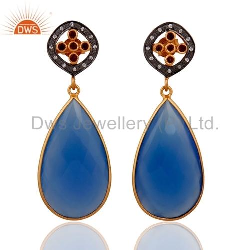 Blue Chalcedony Gold Vermeil Sterling Silver Earring