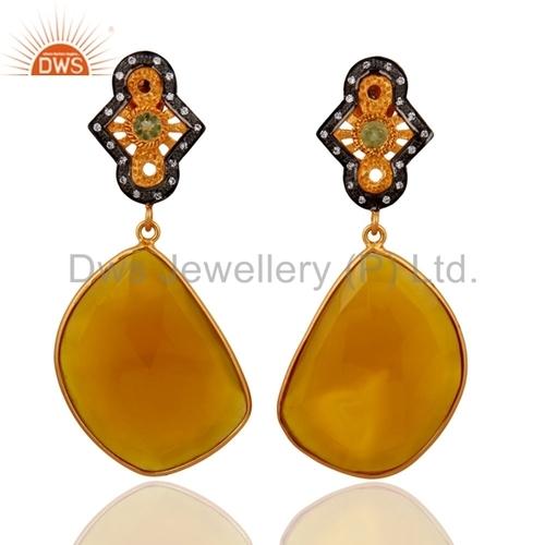 18k Gold 925 Silver Yellow Chalcedony Peridot Earring