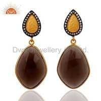 Sterling Silver Smoky Quartz 18k Gold Plated Earrings