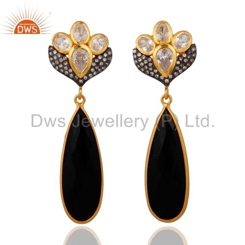 Black Onyx 22k Gold Vermeil On 925 Silver Earrings