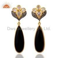 Black Onyx 22k Gold Vermeil On 925 Silver Earrings