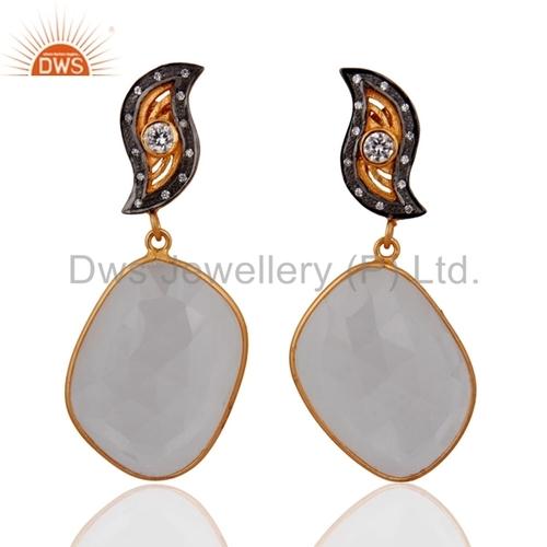 18k Gold on Sterling Silver Rock Crystal Quartz Earring