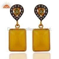 Peridot & Chalcedony 24k Gold Vermel Sterling Silver Earrings