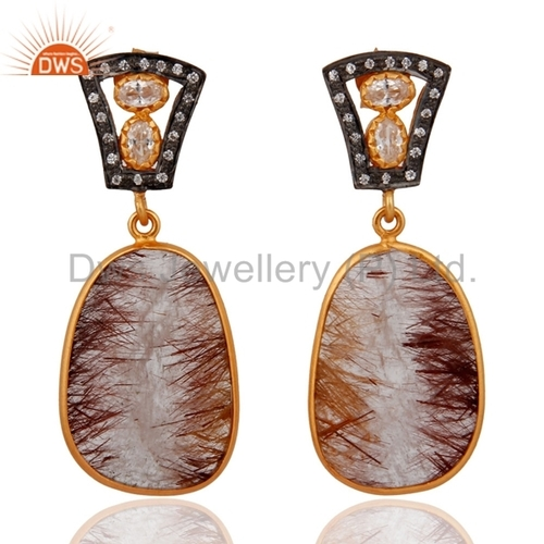 Sterling Silver Rutilated Quartz & CZ Gold Vermeil Earrings