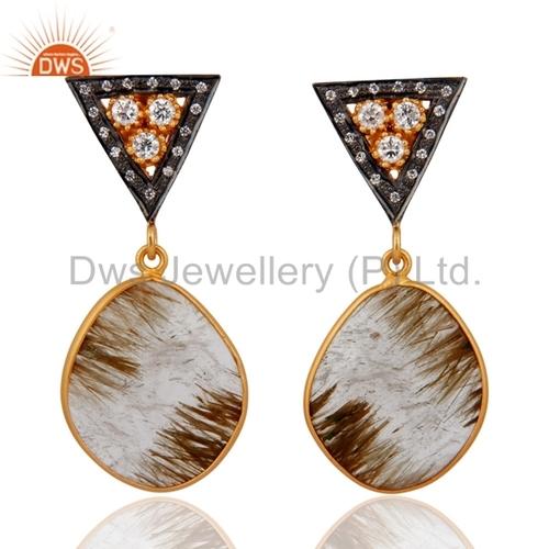 925 Silver Designer Rutile Gemstone Earring