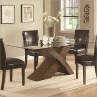 Natty Glass Dining Table With Wood Base