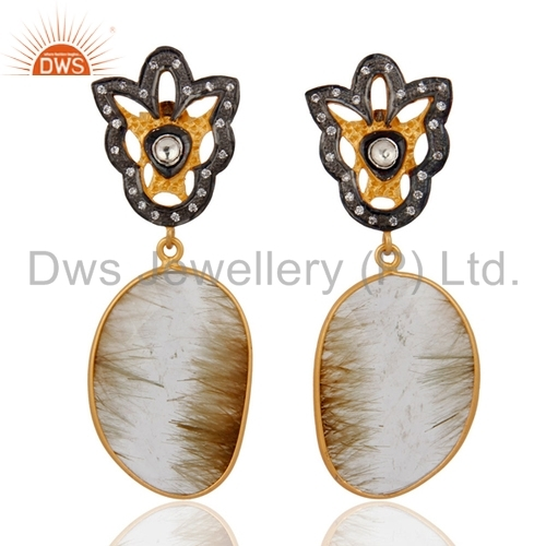 Rutilated Quartz Gold Plated 925 Silver Earrings