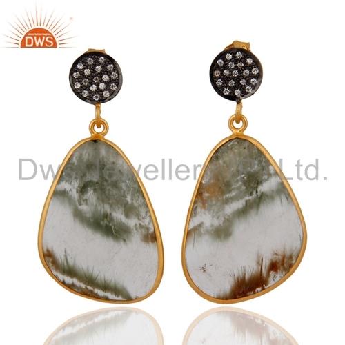 Rutile Quartz Gold Plated 925 Silver Earrings