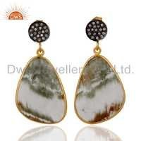 Rutile Quartz Gold Plated 925 Silver Earrings