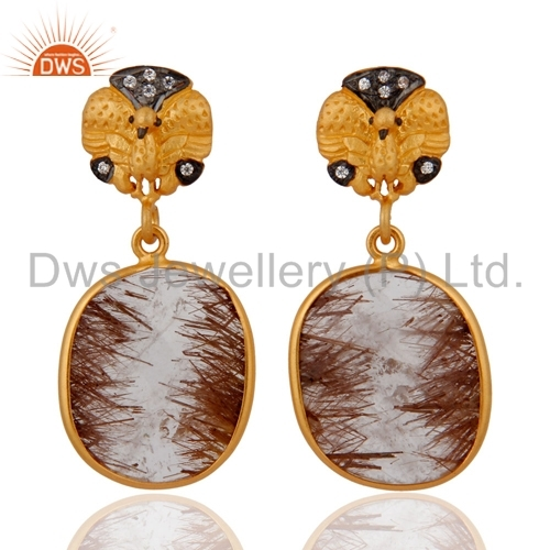Rutilated Quartz Sterling Silver Gold Plated Earrings
