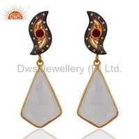 Gold Plated Sterling Silver Crystal Quartz Earring