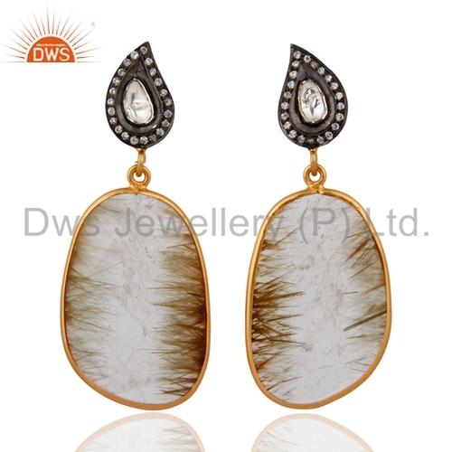 18k Gold-Plated Sterling Silver Rutilated Quartz Earrings