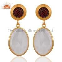 Crystal Quartz 925 Silver Gold Plated Garnet Gemstone Earrings