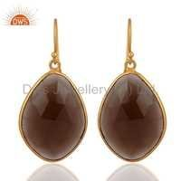 Sterling Silver Smoky Quartz Gold Plated Earring