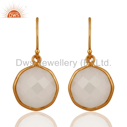 Gold Vermeil White Chalcedony Sterling Silver Earring