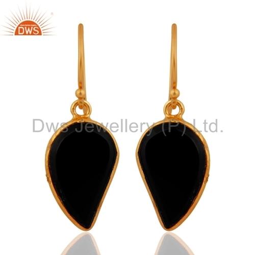 Mango Design Gold Plated Silver Black Onyx Earrings Jewelry