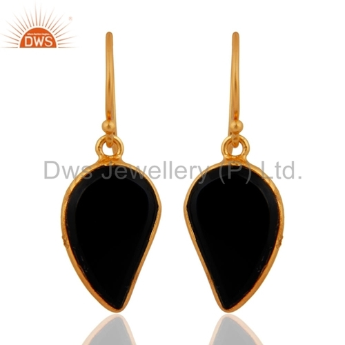 Sterling Silver with Gold Plated Black Onyx Earrings