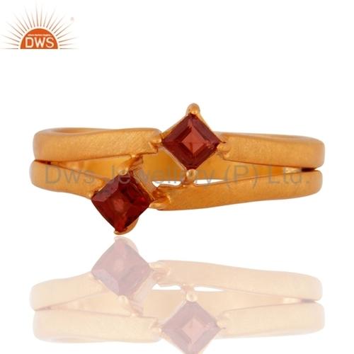 Garnet 18k Gold Silver 925 Ring
