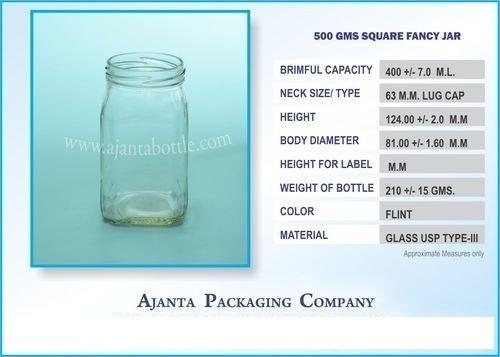500 Gms Square Fancy Jar