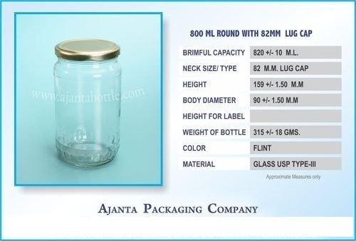 800 ML Round Lug Jar