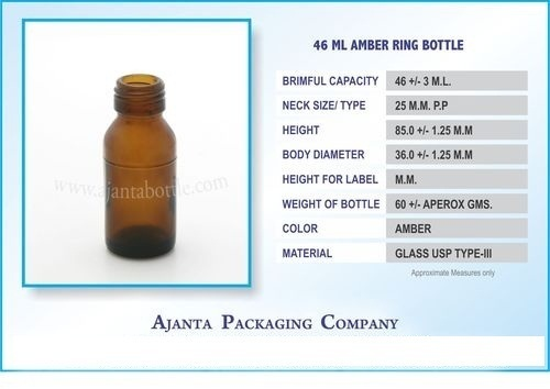 46 Ml Amber Ring Bottle