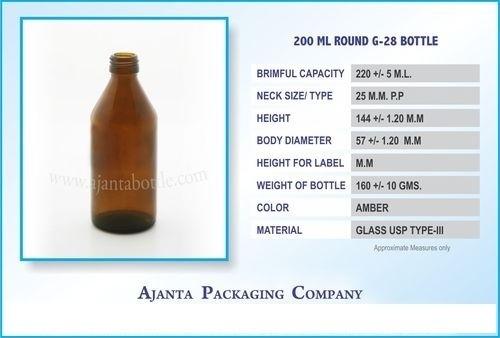 200 Ml Round G-28 Bottle