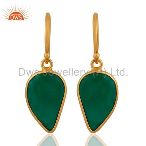 22k Gold Vermeil Emerald Green Onyx Sterling Silver Earrings