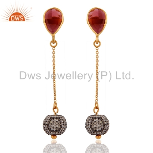 Gemstone Diamond Pave Sterling Silver Earrings