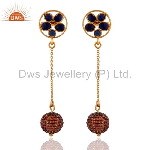 Orange Sapphire Sterling Silver Earring