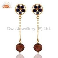 Orange Sapphire Sterling Silver Earring