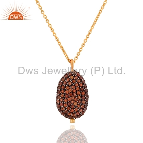 Sterling Silver Gold Plated Orange Sapphire Pendant