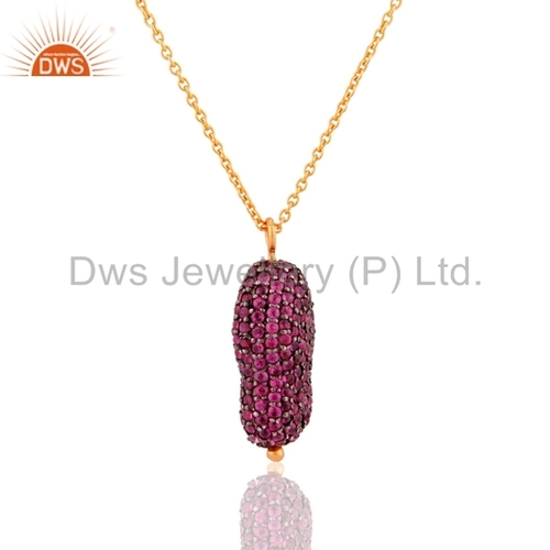 Ruby Sterling Silver 18k Gold Plated Pendants