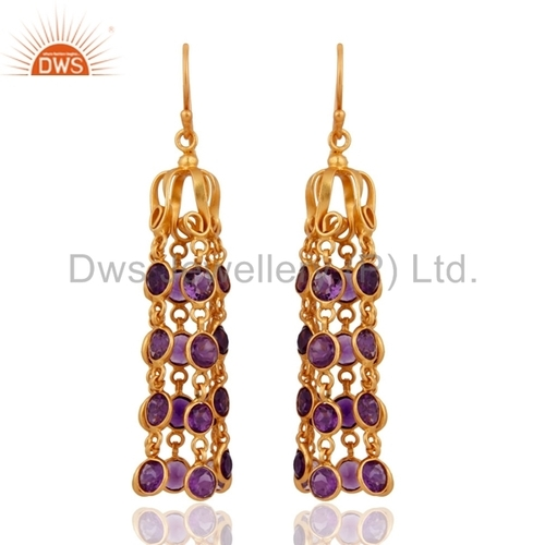 18K Gold On 925 Silver Amethyst Earrings