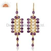 Gold Vermeil Sterling Silver Amethyst Earrings