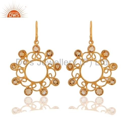 925 Silver Gold Plated Citrine Stone Earrings