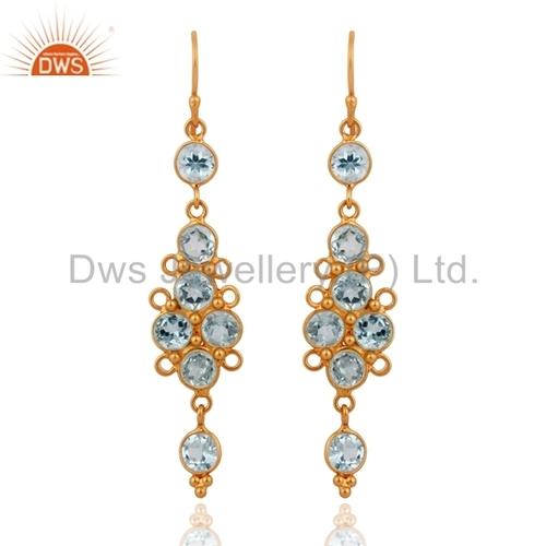 Blue Topaz 22k Gold Plated On Sterling Silver Earrings