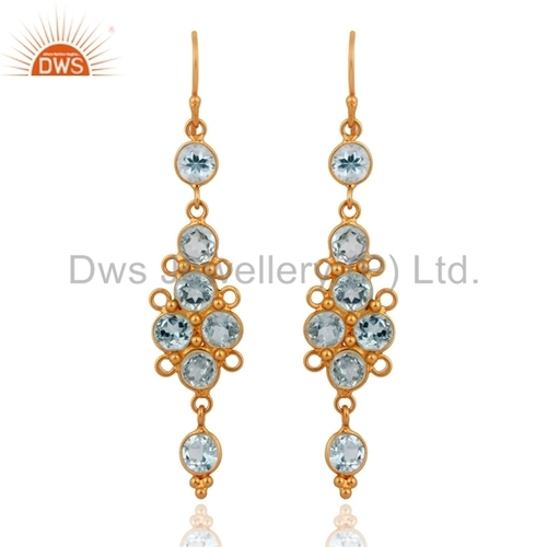 Blue Topaz 22k Gold Plated On Sterling Silver Earrings