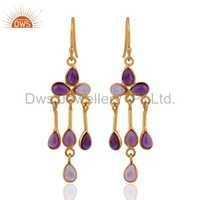18k Gold Plated Sterling Silver Amethyst Earrings