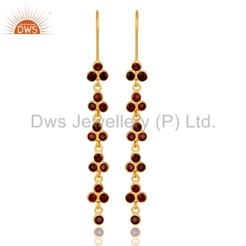 Garnet Gold Plated Sterling Silver Earring